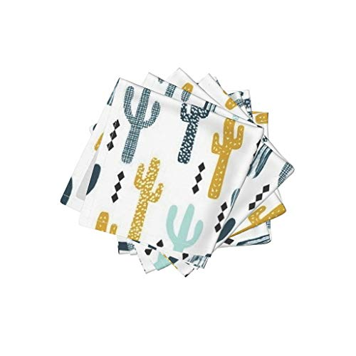 Roostery Cactus Linen Cotton Cloth Cocktail Napkins - Southwest Tropical Trendy Kids Baby Minimal by Charlottewinter (Set of 4) 10 x 10in by Roostery