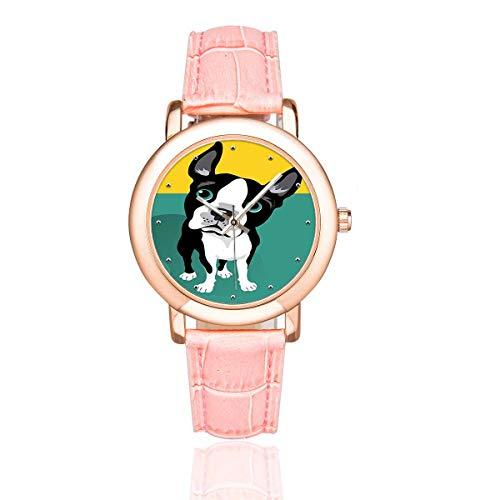InterestPrint Cute Boston Terrier Dog Women's Waterproof Wrist Watches Casual Rose Golden Watch