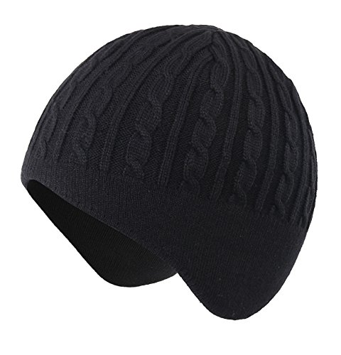 Mens Earflap (Home Prefer Mens Winter Hat Knit Earflap Hat Stocking Caps with Ears Warm Hat (#389 Black))