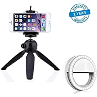 Azacus Mobile & DSLR Tripod with Holder & Selfie Enhancing Ring Light with 3 Level of Brightness for Photography Video Calling (Smart Phones Laptop Tablet) 36 LED