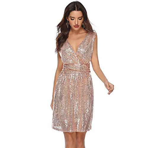 Women's Sequin Glitter Deep-V Neck Mini Party Dress,Disco Theme Dress(Medium, Apricot ()