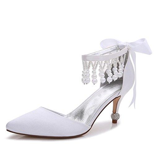 L@YC Zapatos De Boda Para Mujer F17767-18 Colgante Plataforma De TacóN alto Primavera OtoñO Y Satinado Vestido De Noche Blanco