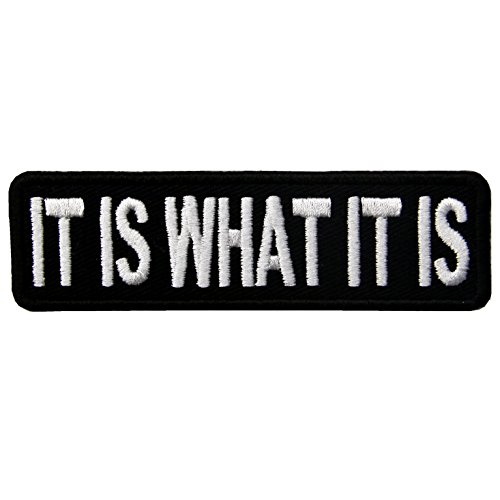 EmbTao It Is What It Is Funny Biker Embroidered Iron On Sew On Patch (Stephen King Patch)