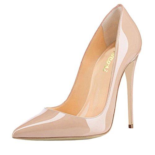 VOCOSI Women's Sexy Point Toe High Heels,Patent Leather Pumps,Wedding Dress Shoes,Cute Evening Stilettos Nude 9 US