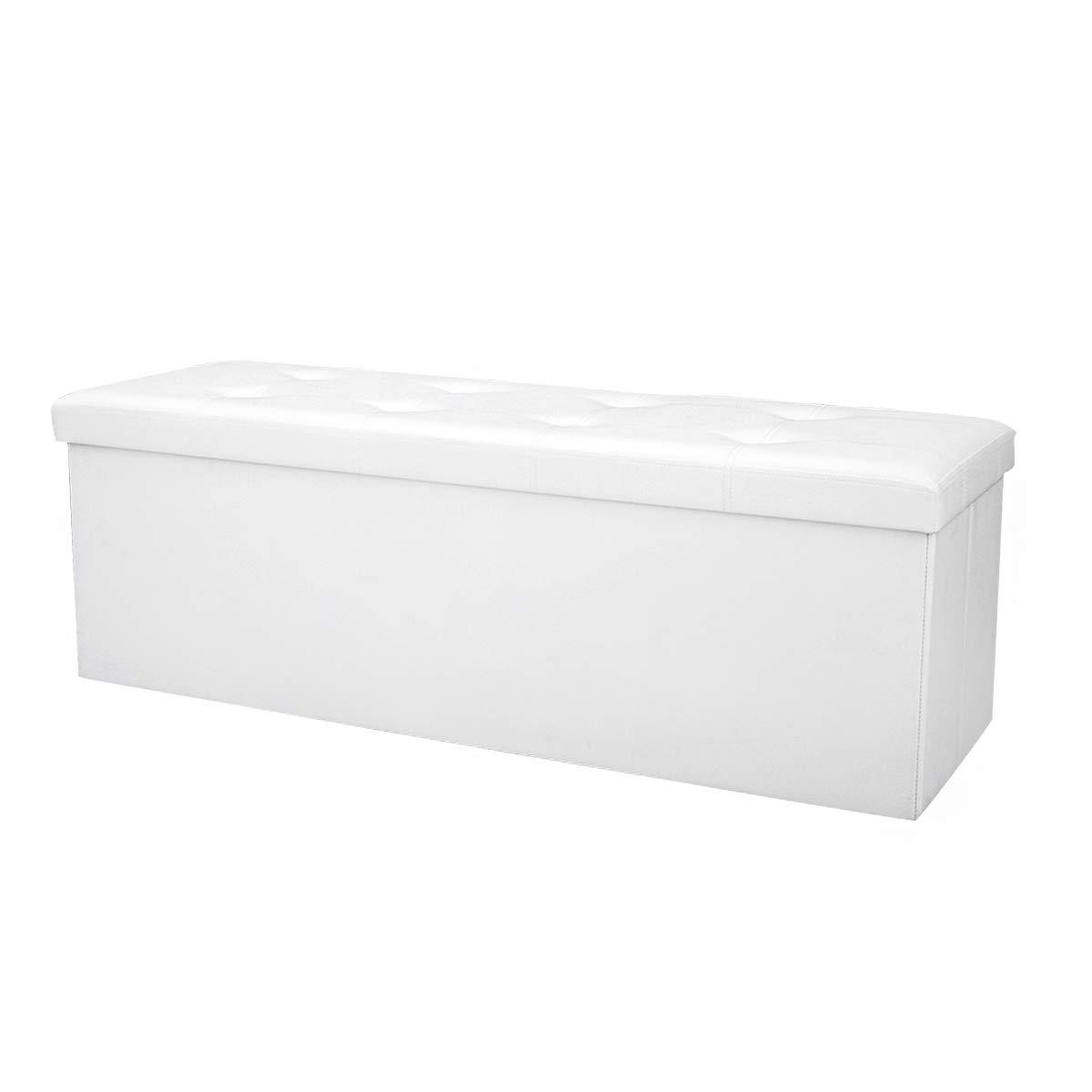 Braun Sitzkasten Polsterhocker Truhe COSTWAY Sitzbank bis 300kg belastbar Sitztruhe PVC-Leder Sitzbox Sitzw/ürfel Bank faltbar Aufbewahrungsbox 114 x 38 x 38cm