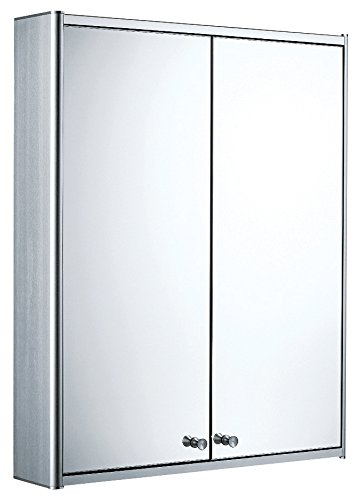 Whitehaus WHCAR-42 Whcar-42Double Two Sided Mirrored Door Medicine Cabinet with Two Adjustable Glass Shelves & Mirror Faced Back Wall, Aluminum ()