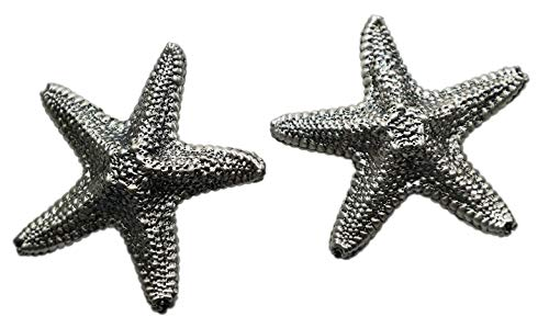 Silver plated Starfish Designer Knobs - Unique original model handmade by Italian craftsman - Ideal for furniture, chest of drawers, cupboards, sideboards and wardrobes - Inch 2,3 x 2,3 x 0,55