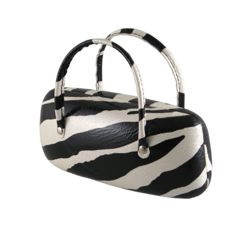 Trendy Mini Handbag Case for Medium & Large Eyeglasses / Sunglasses with Microfiber Cleaning Cloth | 100% | Hard | Protective | Women | Girls | AS140TG Zebra (Personalized Cheap Sunglasses)