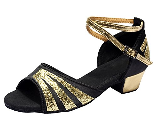 Gold Glittering Strap Satin Latin Dance Shoes for Girls Soft Soled Low Heels(2, Black) by staychicfashion (Image #6)