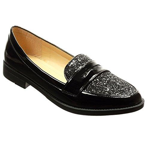 Angkorly - Zapatillas de Moda Mocasines slip-on mujer brillante patentes Talón Tacón ancho 2.5 CM - Negro