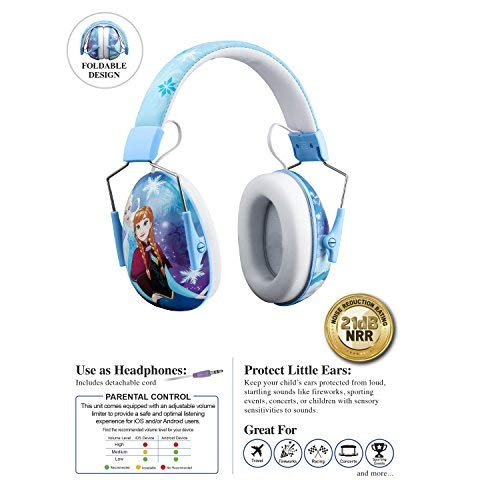 (Frozen Kids Ear Protectors Earmuffs Toddler Ear Protection and Headphones 2 in 1 Noise Reduction and Headphones for Kids Ultra Lightweight Adjustable Safe Sound Great for Concerts Shows and More)