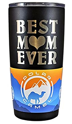 "GIFT MOM – ""BEST MOM EVER"" GK Grand Personal-Touch Premium Creations Brand Engraved Stainless Steel Vacuum Insulated Tumbler 20oz Travel Coffee Mug Hot Cold Drink Christmas Birthday Mothers Day"
