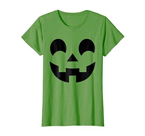 Womens Jack-O-Lantern Face Halloween Shirt Pumpkin Costume Kids Small Grass -