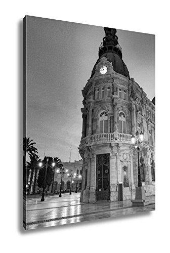 Ashley Canvas Ayuntamiento De Cartagena Sunset City Hall At Murcia Spain, Wall Art Home Decor, Ready to Hang, Black/White, 20x16, AG5528260 by Ashley Canvas