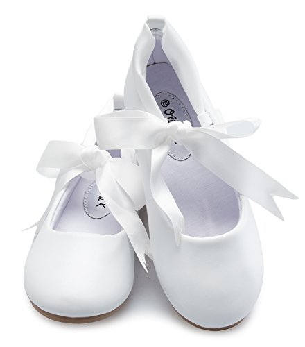 (OLIVIA K Girls Adorable Ballerina Mary Jane Flats Ribbon Tie Shoes)