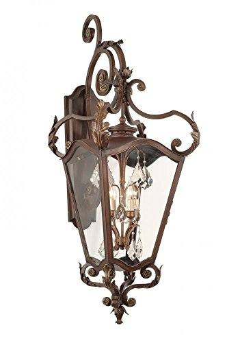 Corbett Lighting Bronze (Corbett Lighting 75-23 ST. Tropez 4-Light Wall Lantern, Antique Bronze Finish - Clear Glass)