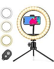 Pipishell Ringlicht met statief standaard & telefoonhouder, Selfie Ring Light 10 inch met 3 kleuren, 10 helderheidsniveaus, Robuuste telefoon statief voor YouTube Video Tik Tok Vlog Live Streaming