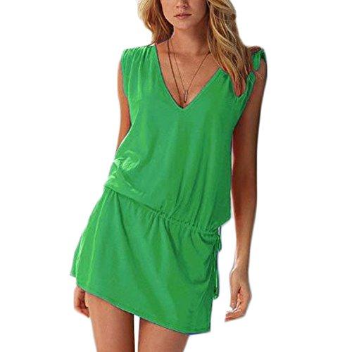 Vestido halter Atractivo de Sin Mangas de Cuello de Verano V de las Mujeres Bodycon Mini Vestidos de Playa Colores Lisos Verde