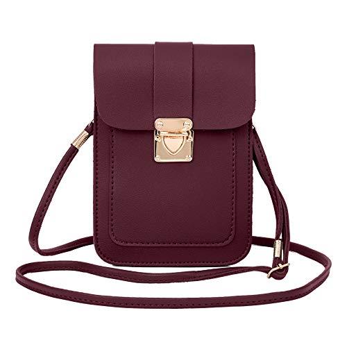 Crossbody Purse Wallet Cellphone Wine Red And Pouch WOZEAH Handbags Mini Bag 1d5wxqH