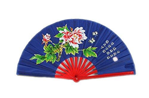 ZooBoo Chinese Bamboo Taichi Kungfu Fan Martial Arts Sports Folding Hand Fan 13inch (Blue)