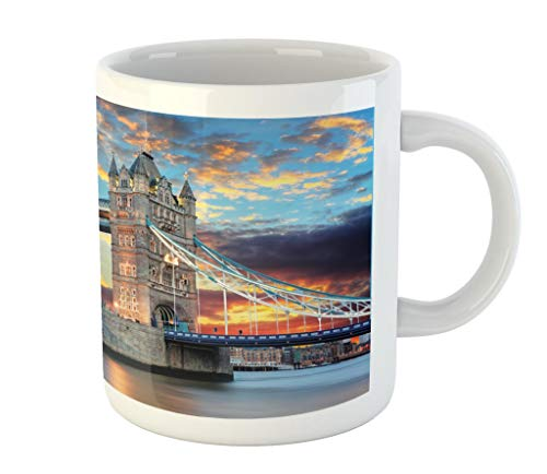 Lunarable London Mug, Vista of Tower Bridge at Dramatic Sunset Thames River with Grey Clouds, Printed Ceramic Coffee Mug Water Tea Drinks Cup, Pale Blue Yellow Tan
