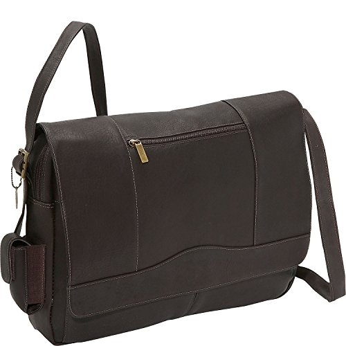 David King Leather 3/4 Flap Laptop Messenger Bag in Cafe (David Flap King Small)