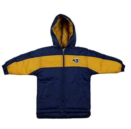 low priced c735a 0b5c6 Mighty Mac Los Angeles Rams NFL Little Boys Toddlers Hooded Heavy Parka  Jacket, Navy Blue & Gold