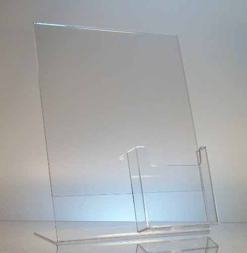 Dazzling Displays 10-pack Acrylic 8.5 x 11 Slanted Sign Holders with Brochure Holder -
