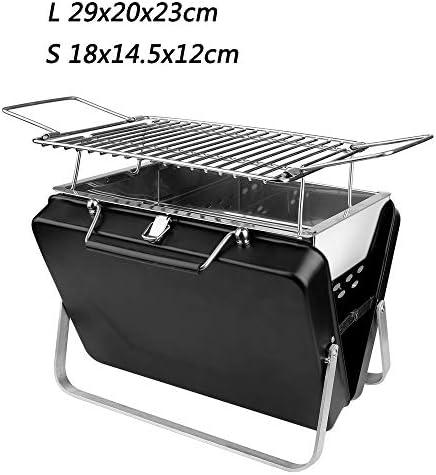 TeRIydF Barbecue en Acier Inoxydable Pliable Noir Portable Mallette Barbecue Accessoires Pliables Maison Parc Barbecue