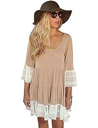 Women Bohemian Flare Sleeve Lace Splice Loose Tunic Dress
