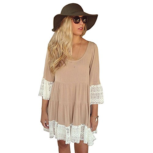[MIXMAX Bohemian Lace Splice Loose Tunic Dress (Medium, khaki)] (Hippie Dress)