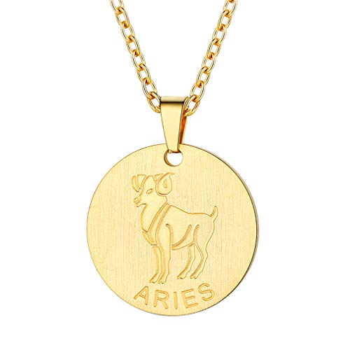 FaithHeart Customizable Astrology 12 Constellation Horoscope Necklace, 18K Gold Plated Aries Zodiac Star Sign Coin Pendant Necklace Birthday Gifts Lucky Charms Layered Necklace (Gold)