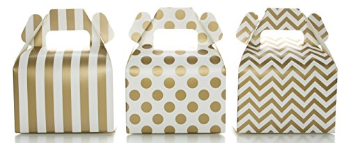 Gold Candy Box Set, Wedding Favor Boxes (36 Pack) - Striped, Chevron & Polka Dot Party Favor Treat Boxes, Small Square Gable Gift (Favor Gable Boxes)