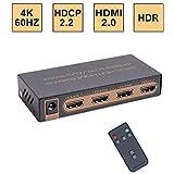 E-SDS UHD 4K@60Hz HDMI Switch,3x1 HDMI Switcher IR Wireless Remote,HDMI 2.0,HDCP 2.2