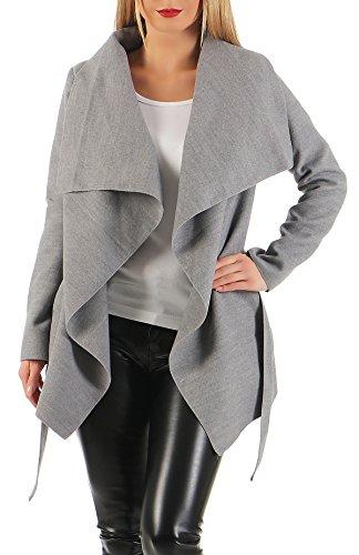 Danaest - Abrigo - trenca - Básico - Manga Larga - para mujer gris Large