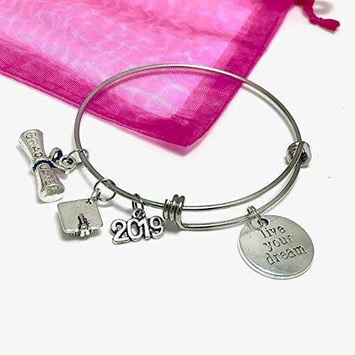Live Your Dream Graduate Charm Bracelet 2019 Graduation Gift - Stainless Steel Expandable Bangle