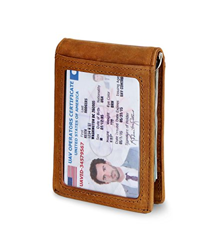 Bi Distressed Leather Fold (Travel Wallet RFID Blocking Bifold Slim Genuine Leather Thin Minimalist Front Pocket Mens Wallets with Money Clip - Made From Full Grain Leather (California Desert 1.S))
