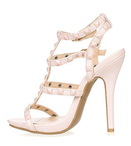 ArcEnCiel Women'S Shoes Gladiator Studded Buckle High Heel Sandal Nude A8cO3o6FdN