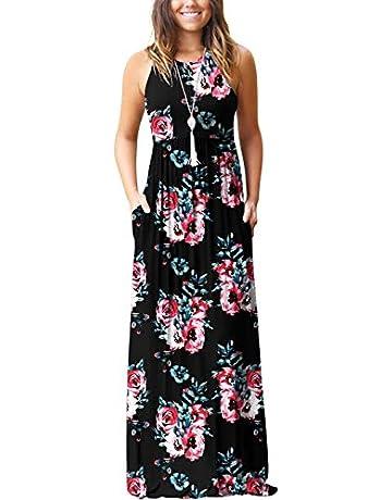 4e487b952a34a GRECERELLE Women's Summer Sleeveless Racerback Loose Plain Maxi Dress  Floral Print Casual Long Dresses with Pockets