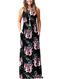 f80dcd71c4eb0 Women's Summer Sleeveless Racerback Loose Plain Maxi Dress Floral Print  Casual Long Dresses with Pockets
