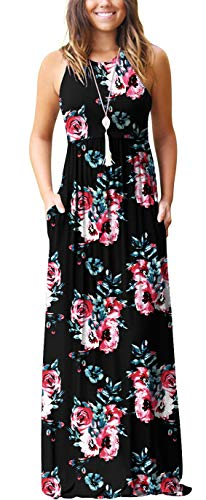 GRECERELLE Women's Casual Loose Long Dress Sleeveless Floral Print Maxi Dresses with Pockets FP Black-M