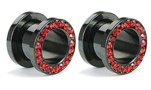 Pair of Black Titanium Red Gem Gauges Tunnels Steel Ear Plugs 10g - 1 Inch (00g) (Black Titanium Gem)