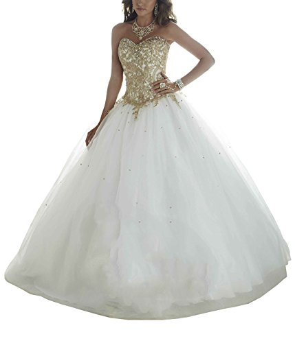 White and gold wedding dress amazon erosebridal gold embroidery ball gown quinceanera dresses womens wedding dresses us 14 white junglespirit Gallery