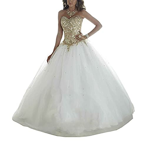 Erosebridal Gold Embroidery Ball Gown Quinceanera Dresses Womens Wedding Dresses US 14 White