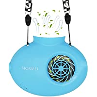 Necklace Fan Normei Battery Operated Mini Protable USB Rechargeable Fan Powered by 2200mAh Battery For Personal Cooling Kids Camping Walking Travel Outdoor with String Blue