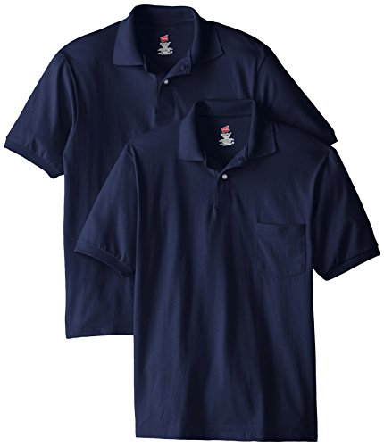 Hanes Men's Short Sleeve Jersey Pocket Polo, Navy, Medium (Pack of 2) - Navy Uniform Colors