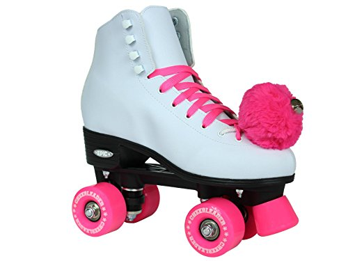 Plate Girl Cheerleader (Epic Skates Cheerleader Indoor/Outdoor Quad Roller Skates, White/Pink, Size 8)