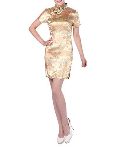 Stile con Xuexian Orientale Qipao Furcal Donna Eleganza tm Giallo OOqHtf