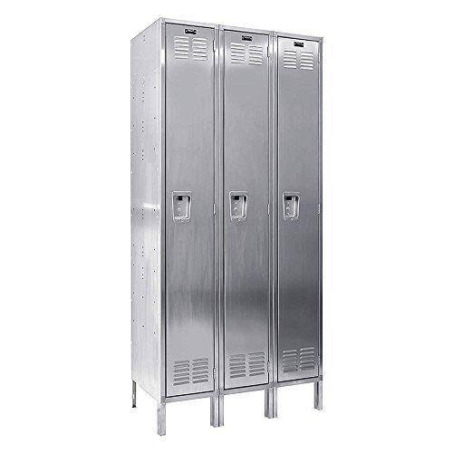 304 Stainless Steel Locker Single Tier 3 Wide (Knock-Down) (Quick Ship) Size: 54