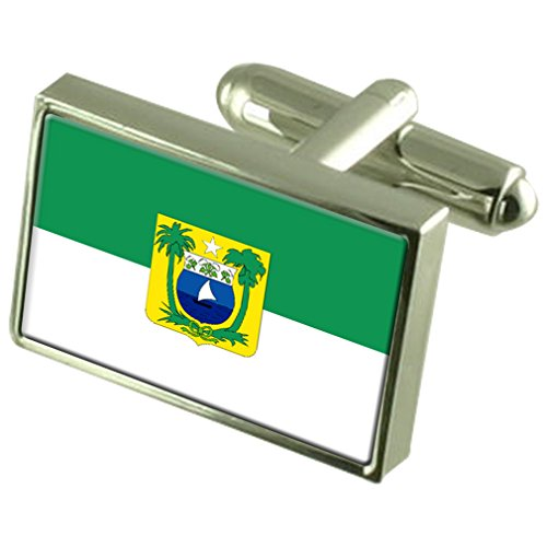 Rio Grande do Norte Sterling Silver Flag Cufflinks by Select Gifts
